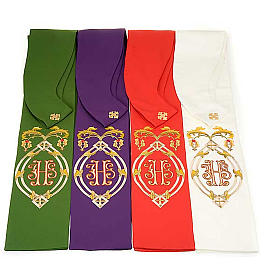 IHS clergy stole, 4 liturgical colors s1
