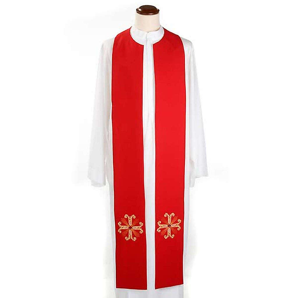 Étole liturgique double face blanc rouge croix et pierres 4