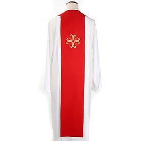 Étole liturgique double face blanc rouge croix et pierres s2