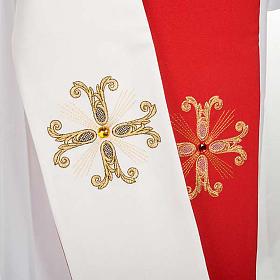 Étole liturgique double face blanc rouge croix et pierres s3