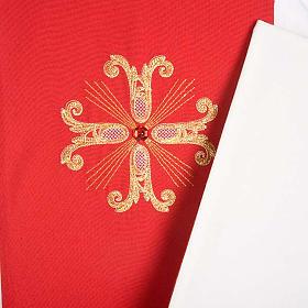 Étole liturgique double face blanc rouge croix et pierres s4