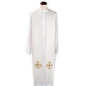 Étole liturgique double face blanc rouge croix et pierres s5