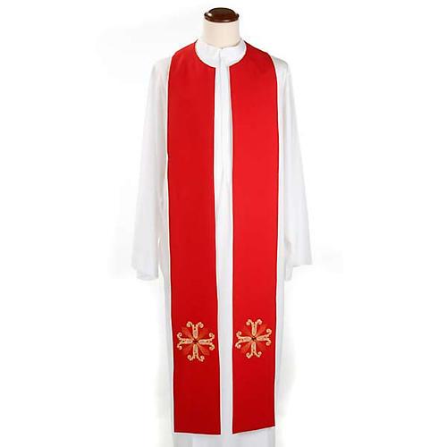 Étole liturgique double face blanc rouge croix et pierres 1