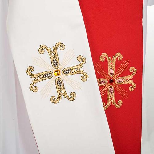Étole liturgique double face blanc rouge croix et pierres 3
