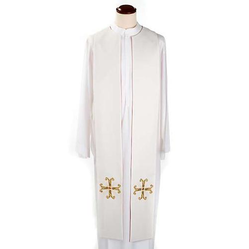 Étole liturgique double face blanc rouge croix et pierres 5