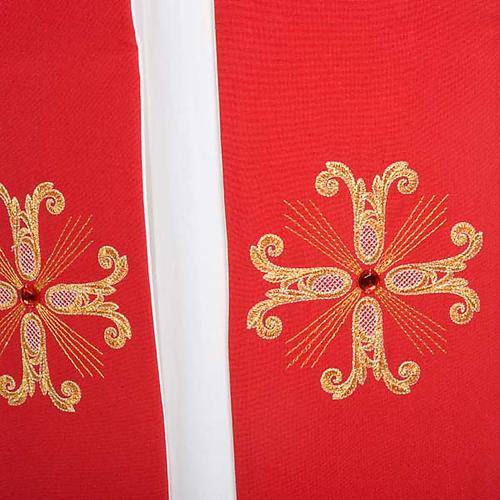 Étole liturgique double face blanc rouge croix et pierres 6
