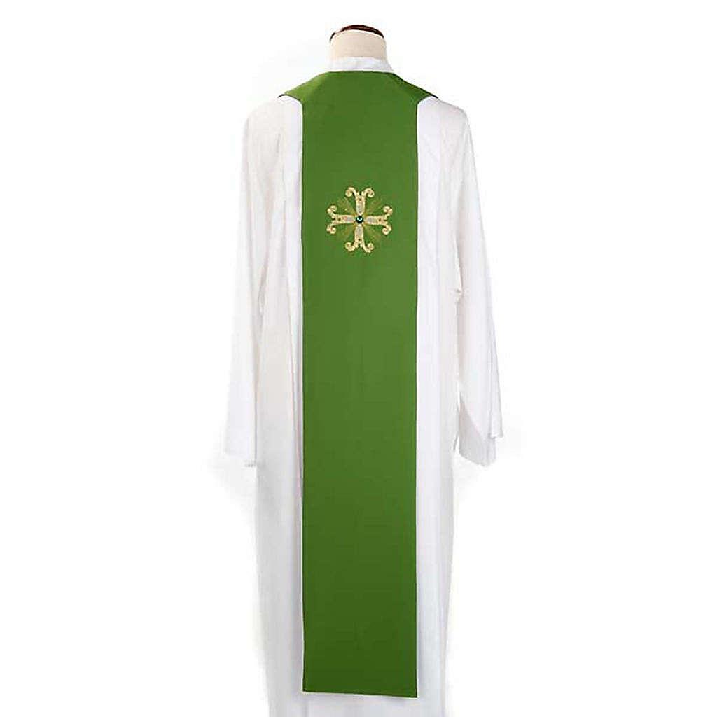 Étole liturgique double face vert violet croix et pierres 4