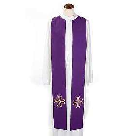 Étole liturgique double face vert violet croix et pierres s5