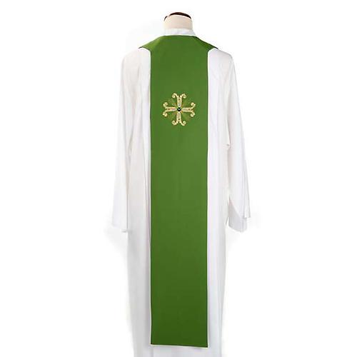 Étole liturgique double face vert violet croix et pierres 3