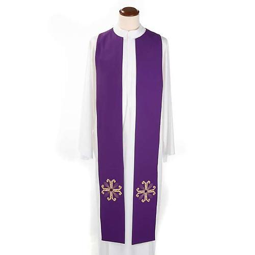 Étole liturgique double face vert violet croix et pierres 5