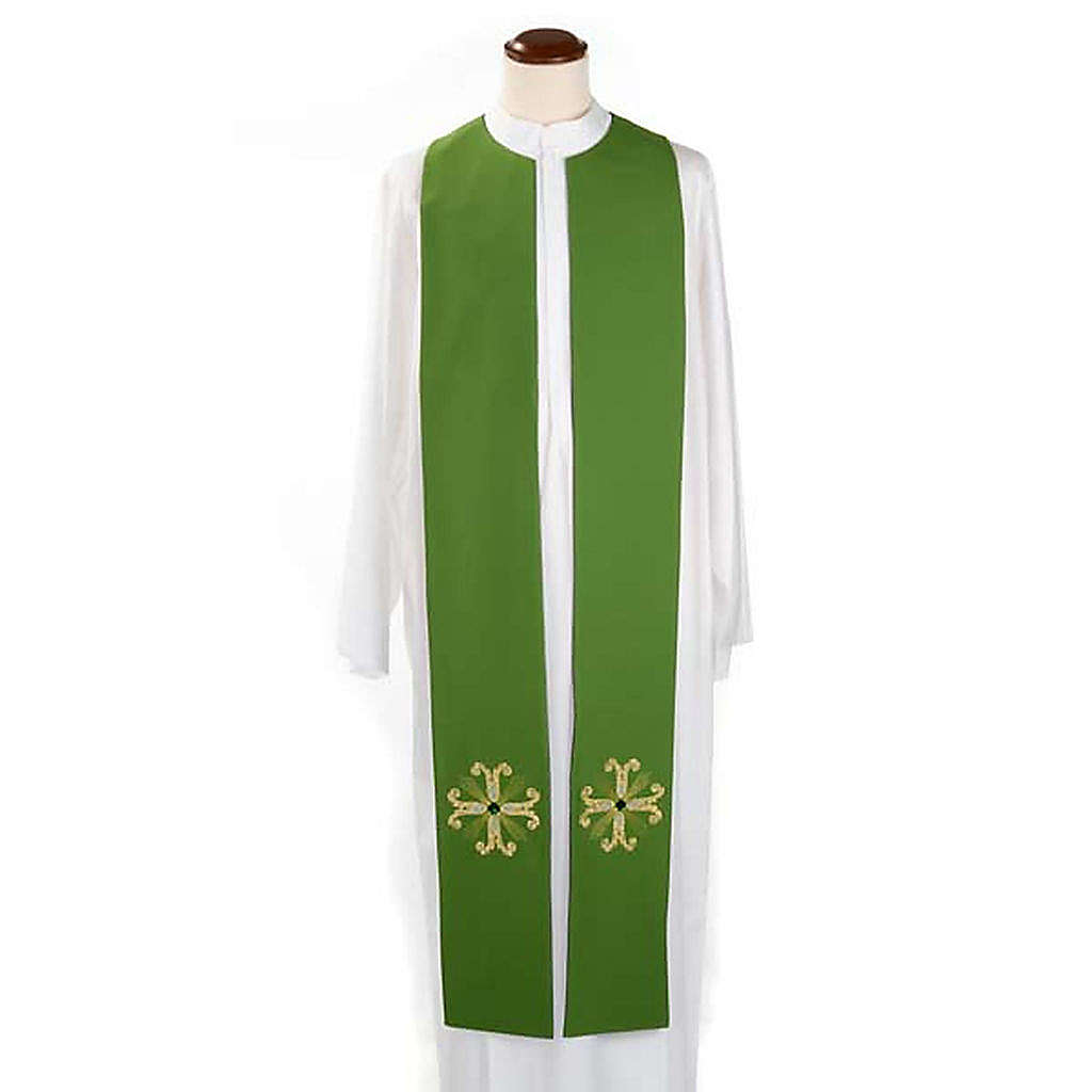 Reversible Priest Stole green violet, cross and glass stones 4