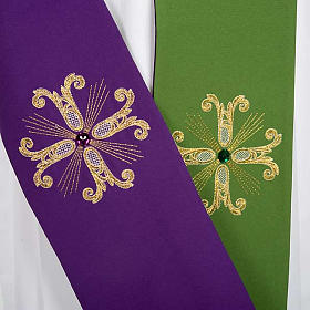 Reversible Priest Stole green violet, cross and glass stones s2