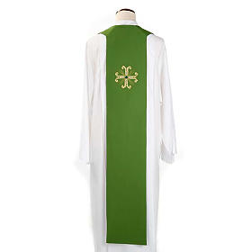Reversible Priest Stole green violet, cross and glass stones s3
