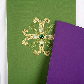 Reversible Priest Stole green violet, cross and glass stones s4