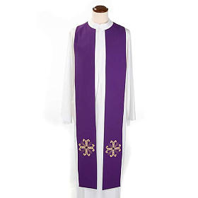 Reversible Priest Stole green violet, cross and glass stones s5