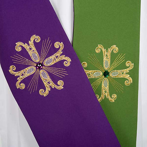 Reversible Priest Stole green violet, cross and glass stones 2
