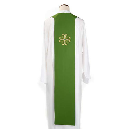 Reversible Priest Stole green violet, cross and glass stones 3