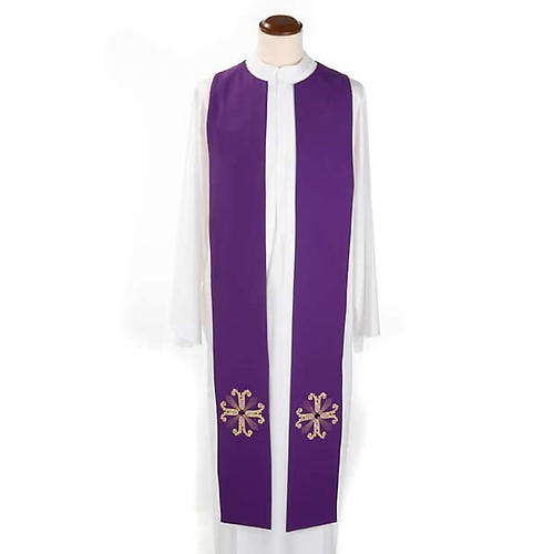 Reversible Priest Stole green violet, cross and glass stones 5