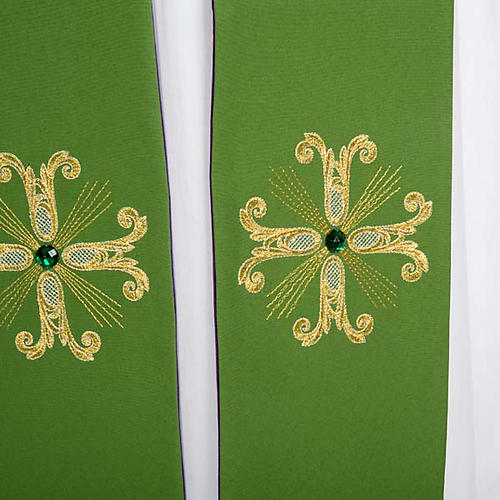 Reversible Priest Stole green violet, cross and glass stones 6