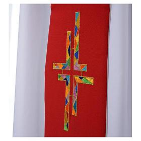 Étole liturgique double face blanc rouge croix colorées s3