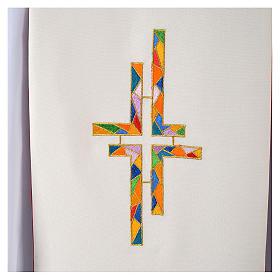 Étole liturgique double face blanc rouge croix colorées s4