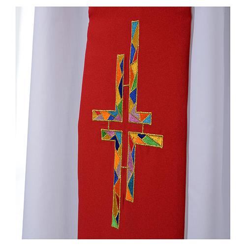 Étole liturgique double face blanc rouge croix colorées 3