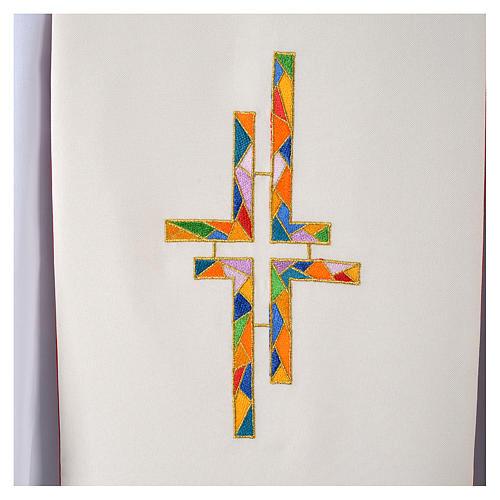 Étole liturgique double face blanc rouge croix colorées 4