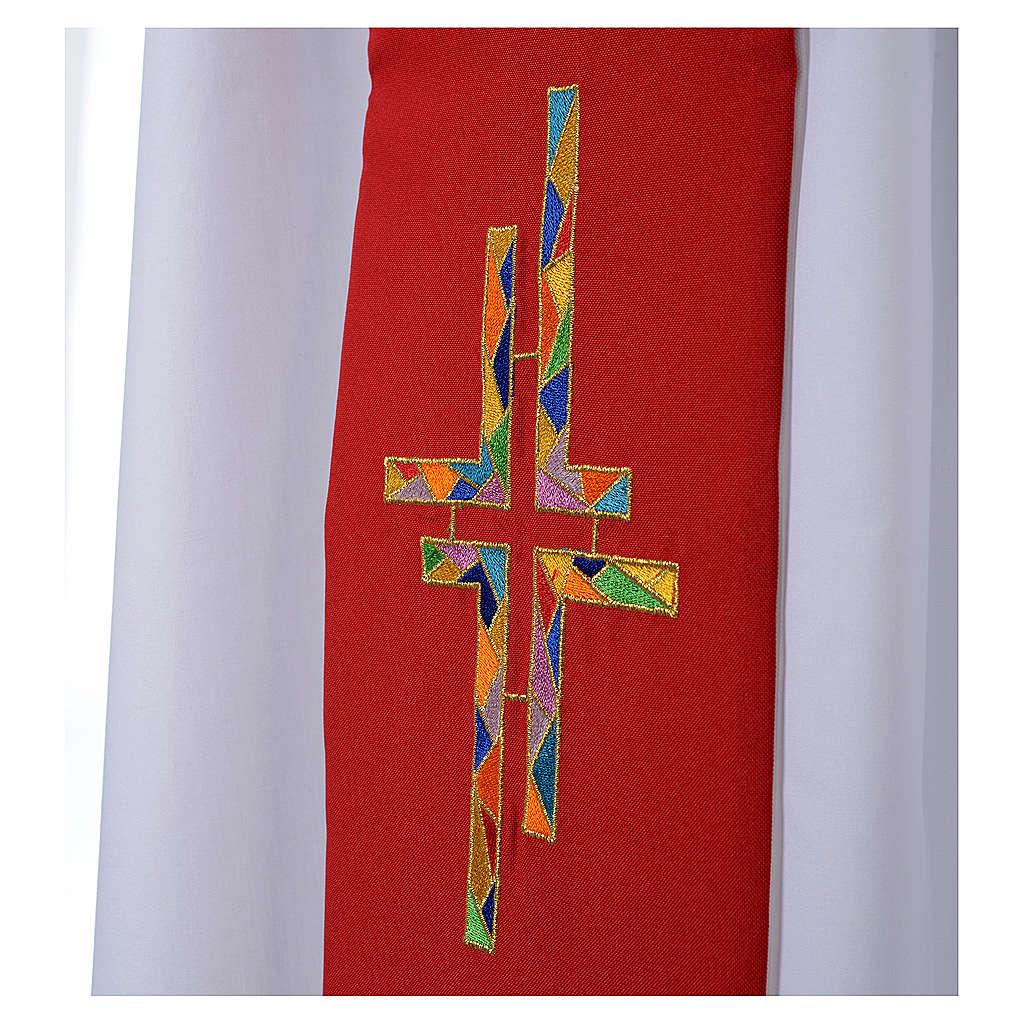 Stolone bianco rosso double face croce multicolor 4