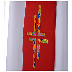 Reversible Overlay Priest Stole white red, multicolor cross s3
