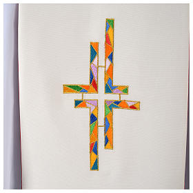 Reversible Overlay Priest Stole white red, multicolor cross s4