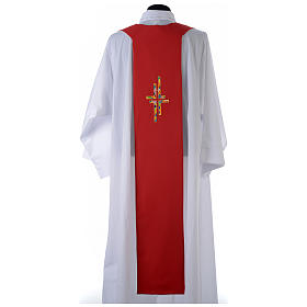 Reversible Overlay Priest Stole white red, multicolor cross s5