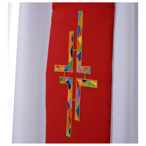 Reversible Overlay Priest Stole white red, multicolor cross 3