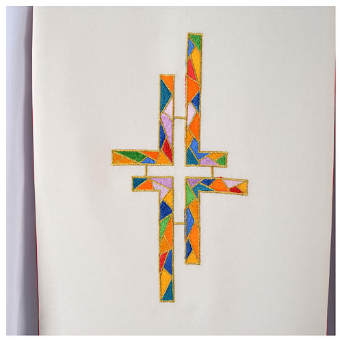 Reversible Overlay Priest Stole white red, multicolor cross 4