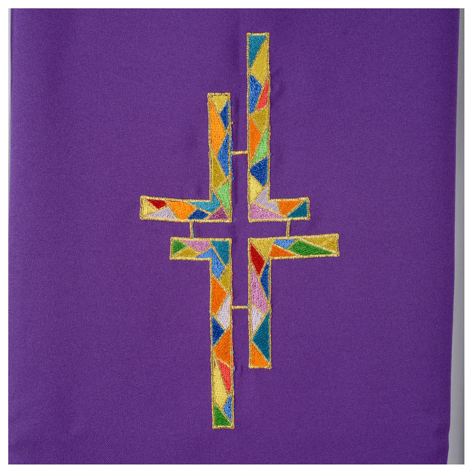 Reversible overlay stole green violet, multicolor cross 4