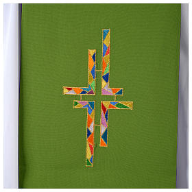 Reversible overlay stole green violet, multicolor cross s6