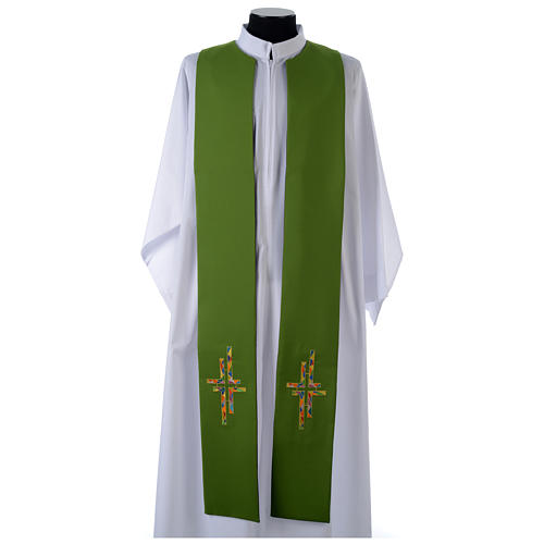 Reversible overlay stole green violet, multicolor cross 2