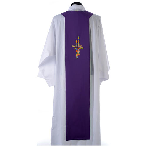 Reversible overlay stole green violet, multicolor cross 3