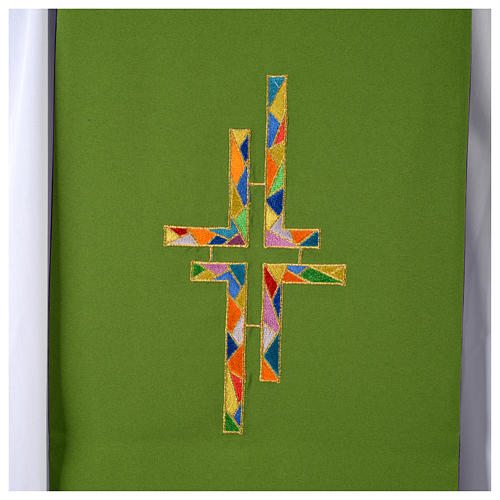 Reversible overlay stole green violet, multicolor cross 6