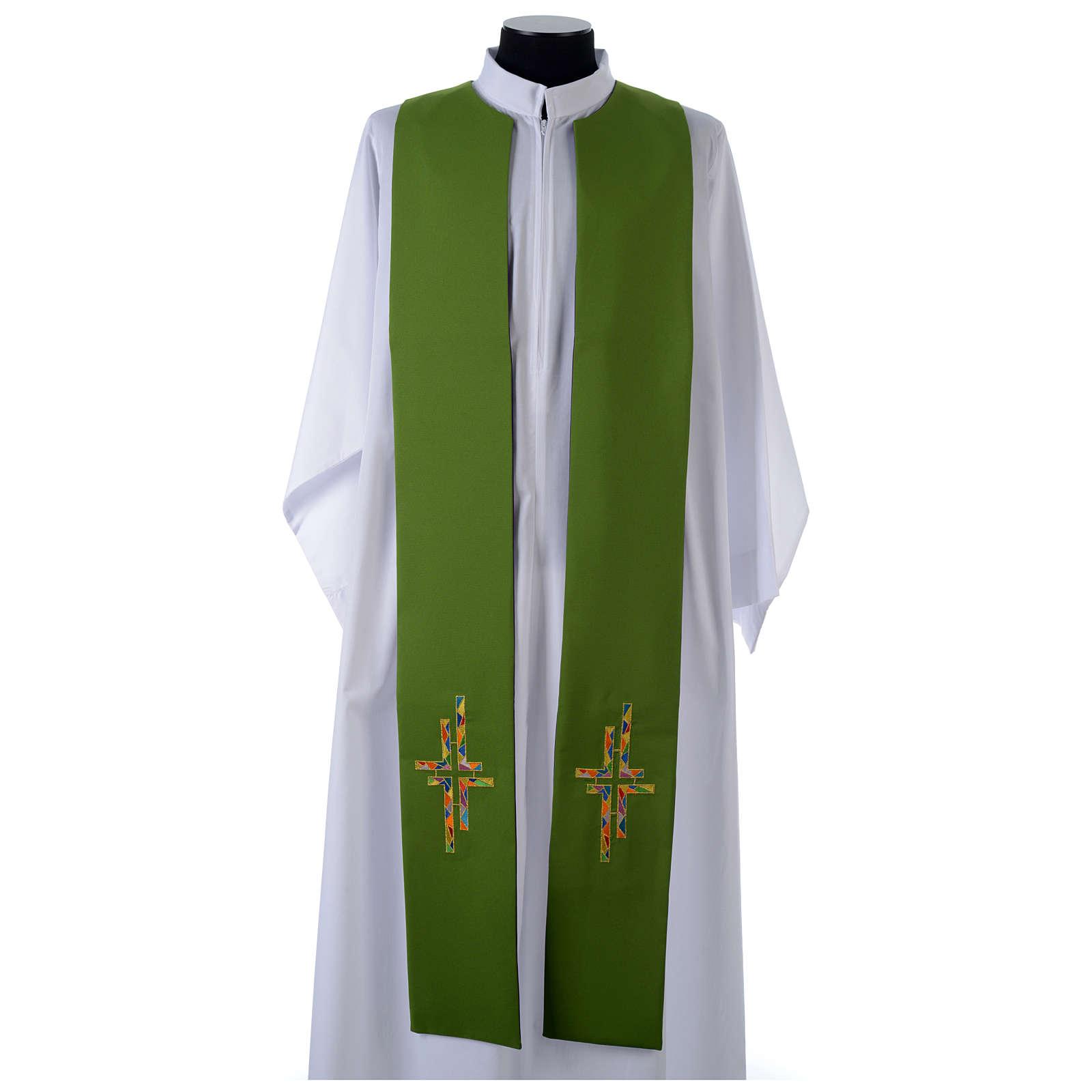 Étole liturgique double face vert violet croix colorées 4