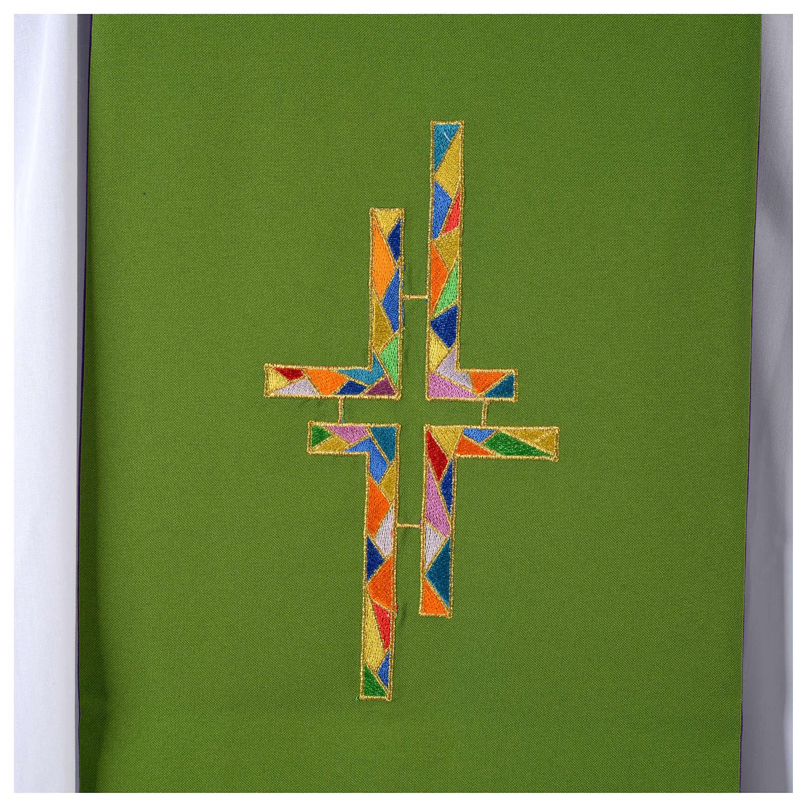 Stuła dwustronna zielono-fioletowa szeroka krzyż wielokolorowy 4