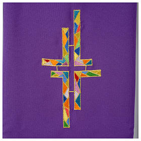Stuła dwustronna zielono-fioletowa szeroka krzyż wielokolorowy s5