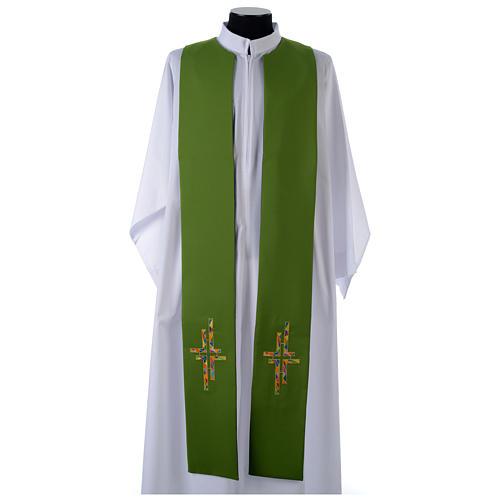 Stuła dwustronna zielono-fioletowa szeroka krzyż wielokolorowy 2