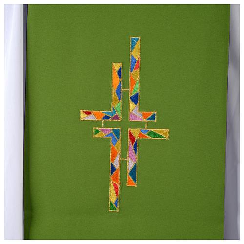 Stuła dwustronna zielono-fioletowa szeroka krzyż wielokolorowy 6
