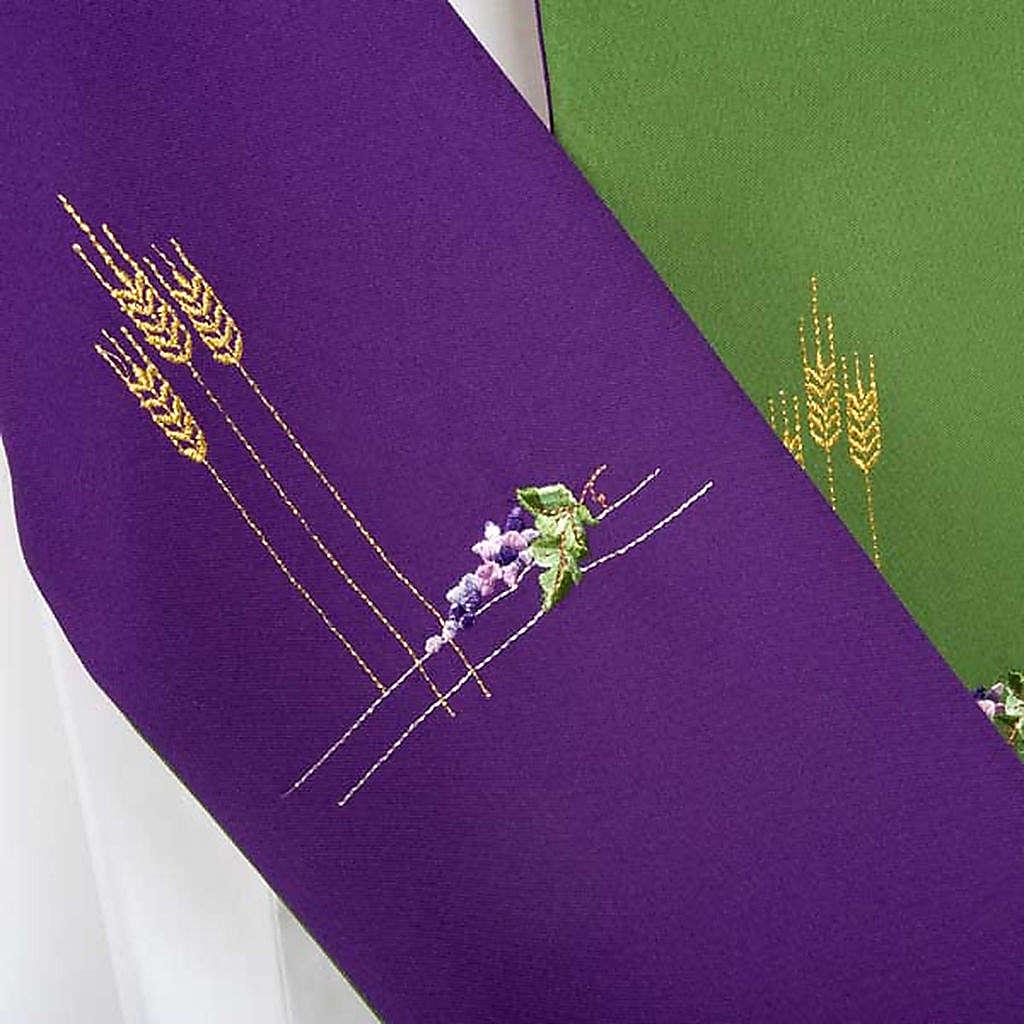Étole pour diacre double face vert violet 4