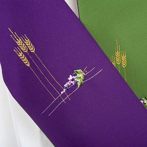 Stuła diakońska dwustronna zielono-fioletowa 5