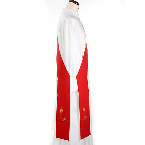 Deacon reversible stole, white red 2