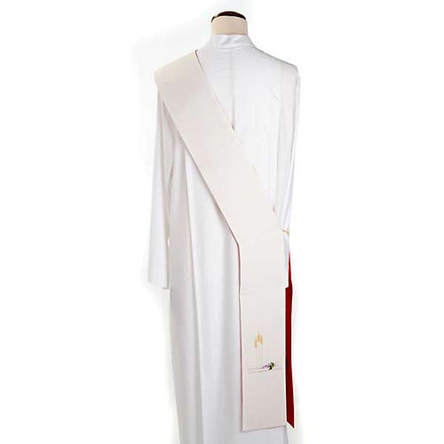 Deacon reversible stole, white red 3