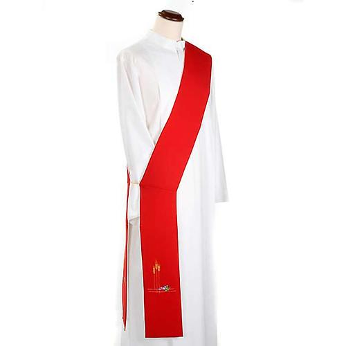 Stuła diakona dwustronna biało-czerwona 1