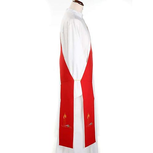 Stuła diakona dwustronna biało-czerwona 2