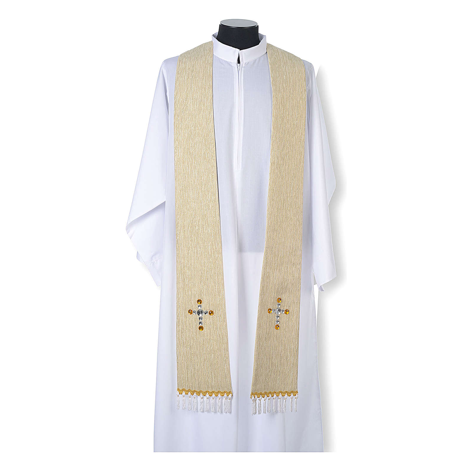 Liturgical stole in lurex, cross with glass stones 4